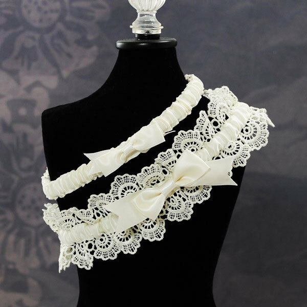 Lace Wedding Garters: Eleanor Lace Wedding Garter Set In Ivory Elegant Ivory