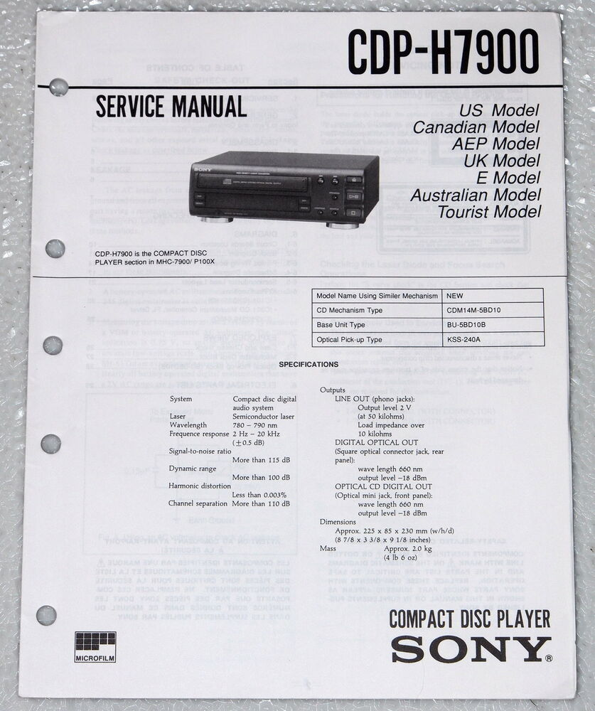 SONY CDP-H7900 Compact Disc CD Player Service Manual & Parts List Orig.  Repair | eBay