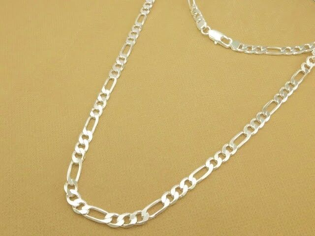 Cuban Link Chain For Sale >> Men Women Flat Diamond-Cut Figaro Necklace Link Chain ...