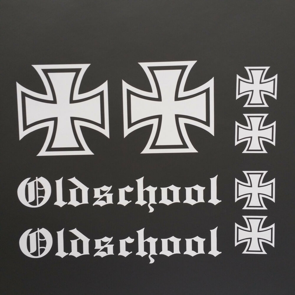 iron cross oldschool auto aufkleber set tuning sticker rat. Black Bedroom Furniture Sets. Home Design Ideas
