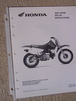 2003 Honda Motorcycle Scooter XR70R Set Up Instruction