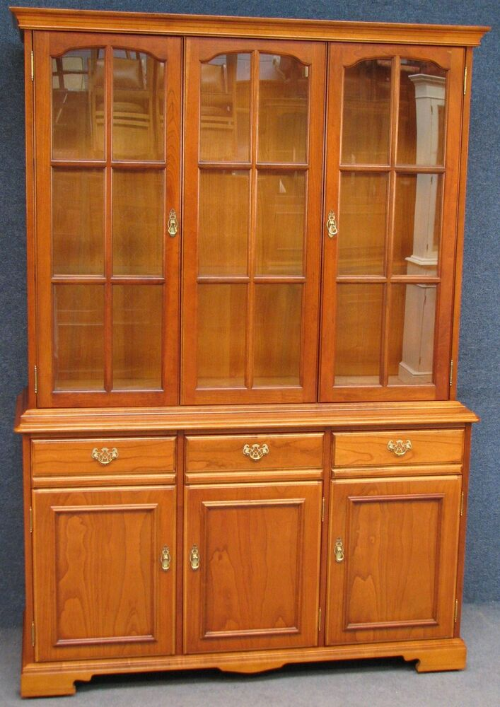 Younger Cherry Wood Wall Unit Dresser Display Cabinet