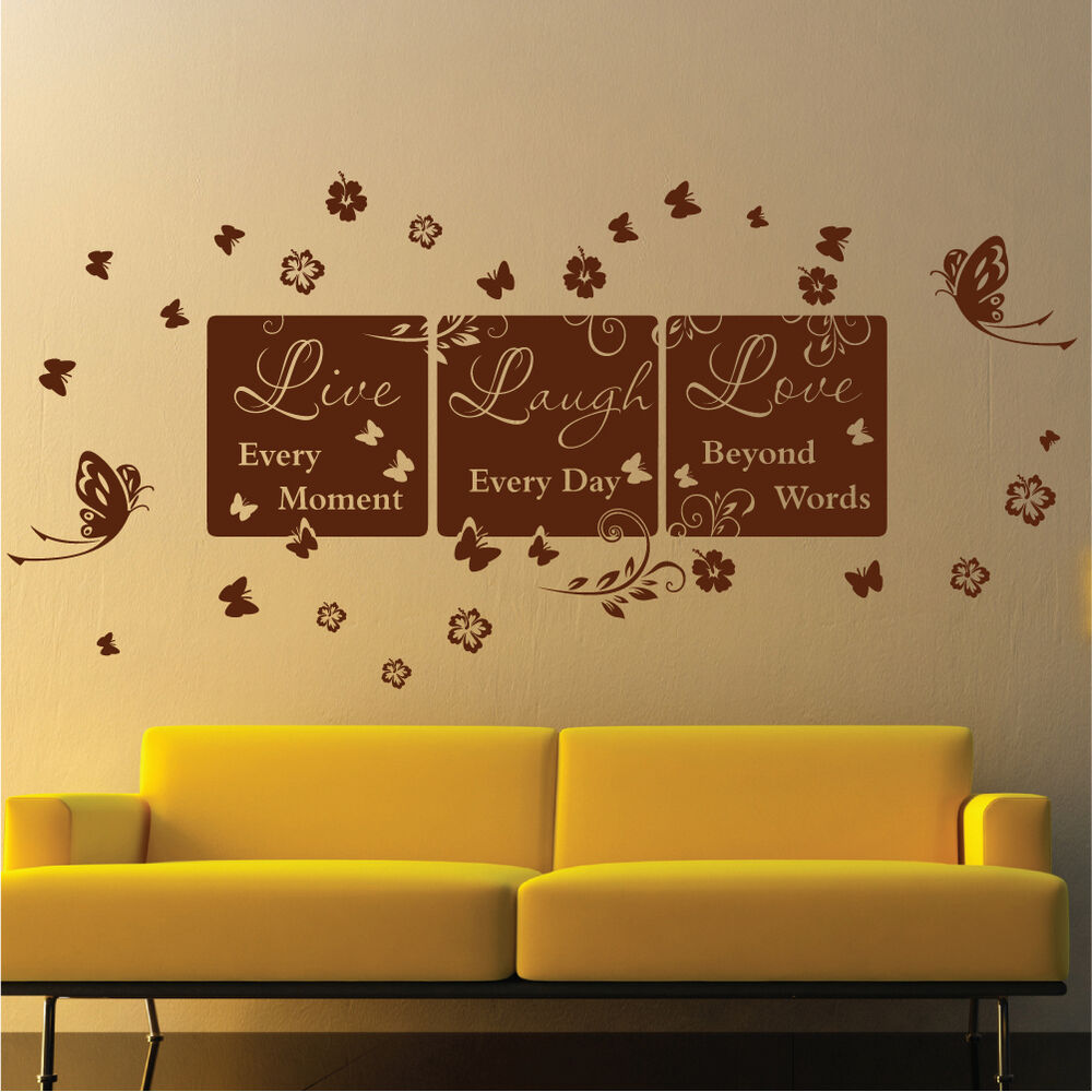 Decomatters Live Laugh Love Bedroom Lounge Vinyl Wall