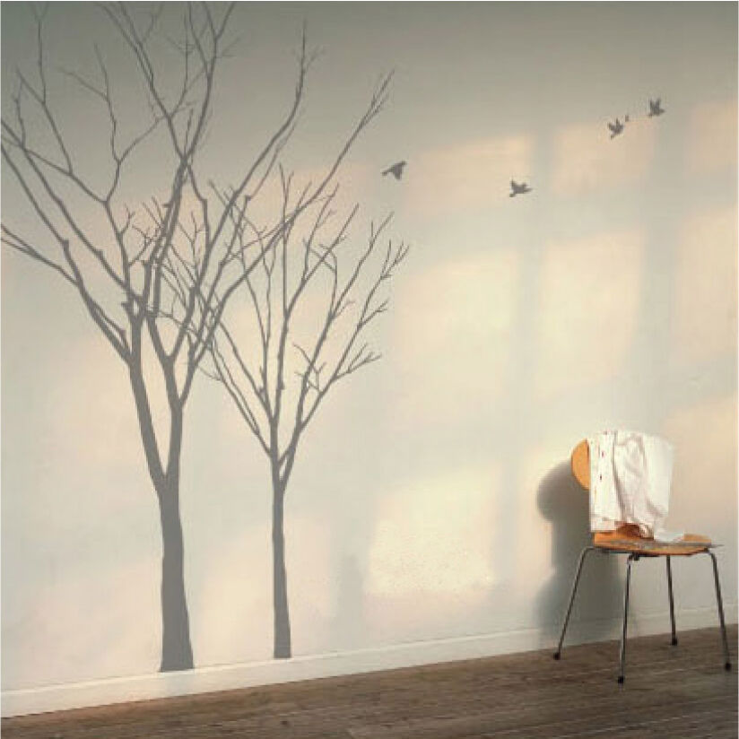 Winter Autumn Tree Birds Lounge Bedroom Vinyl Wall Art ...