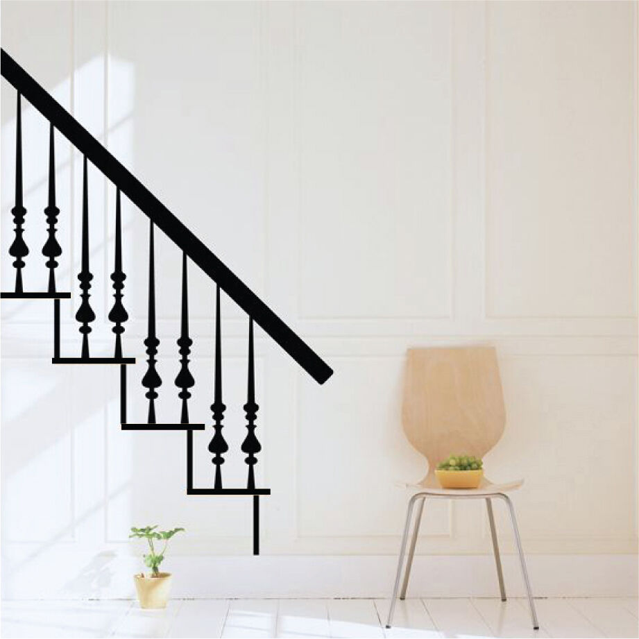 decomatters wooden stairs bedroom lounge vinyl wall art stickers wall decals ebay. Black Bedroom Furniture Sets. Home Design Ideas