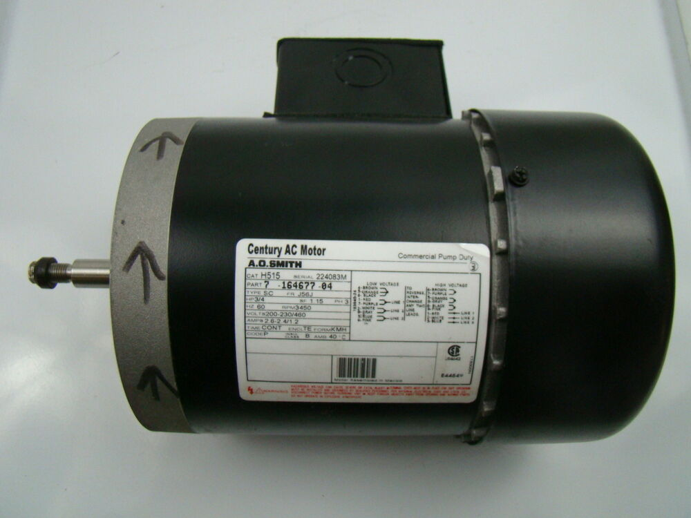 A o smith 3 4 hp 3 phase 3450 rpm ac motor h515 ebay for Ao smith ac motor 1 2 hp