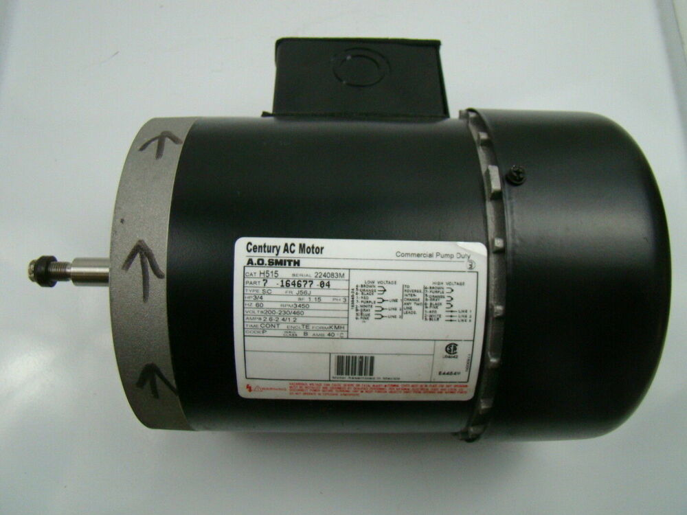 A o smith 3 4 hp 3 phase 3450 rpm ac motor h515 ebay for 3 phase 3hp motor