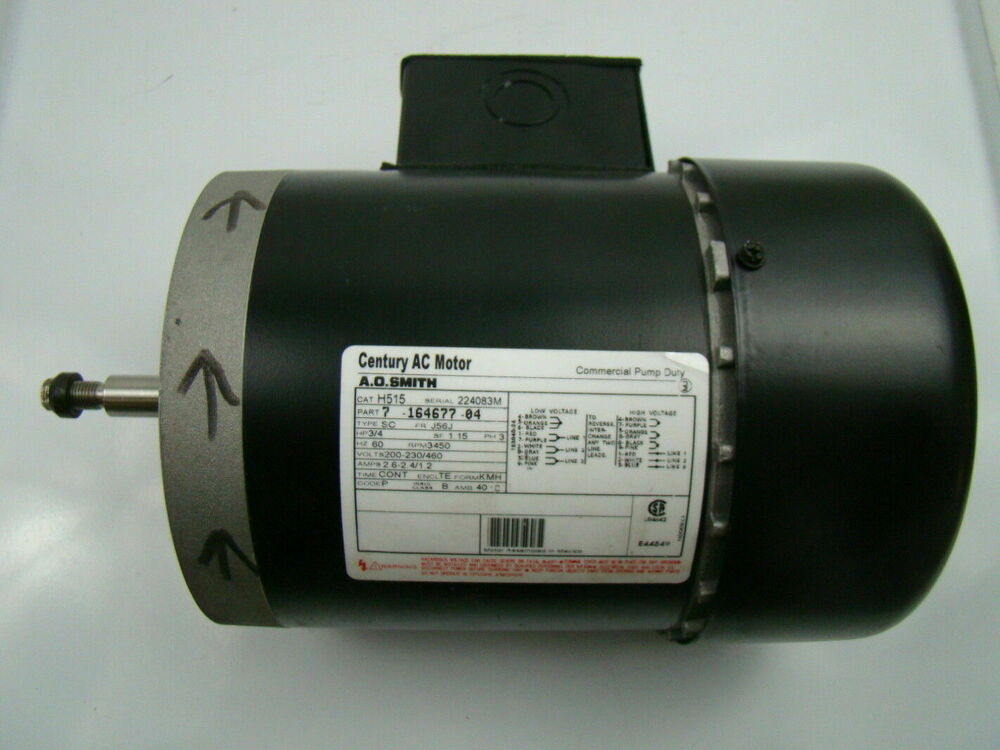 A o smith 3 4 hp 3 phase 3450 rpm ac motor h515 ebay for Century ac motor serial number lookup