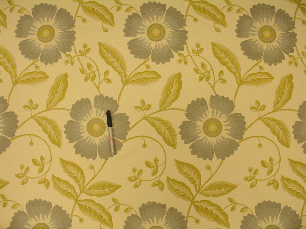 Large spring floral slate gray olivey gold beige for Floral upholstery fabric