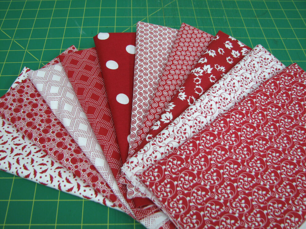 10 Fat Quarter Quilt Fabric Lot Red And White A1 Ebay