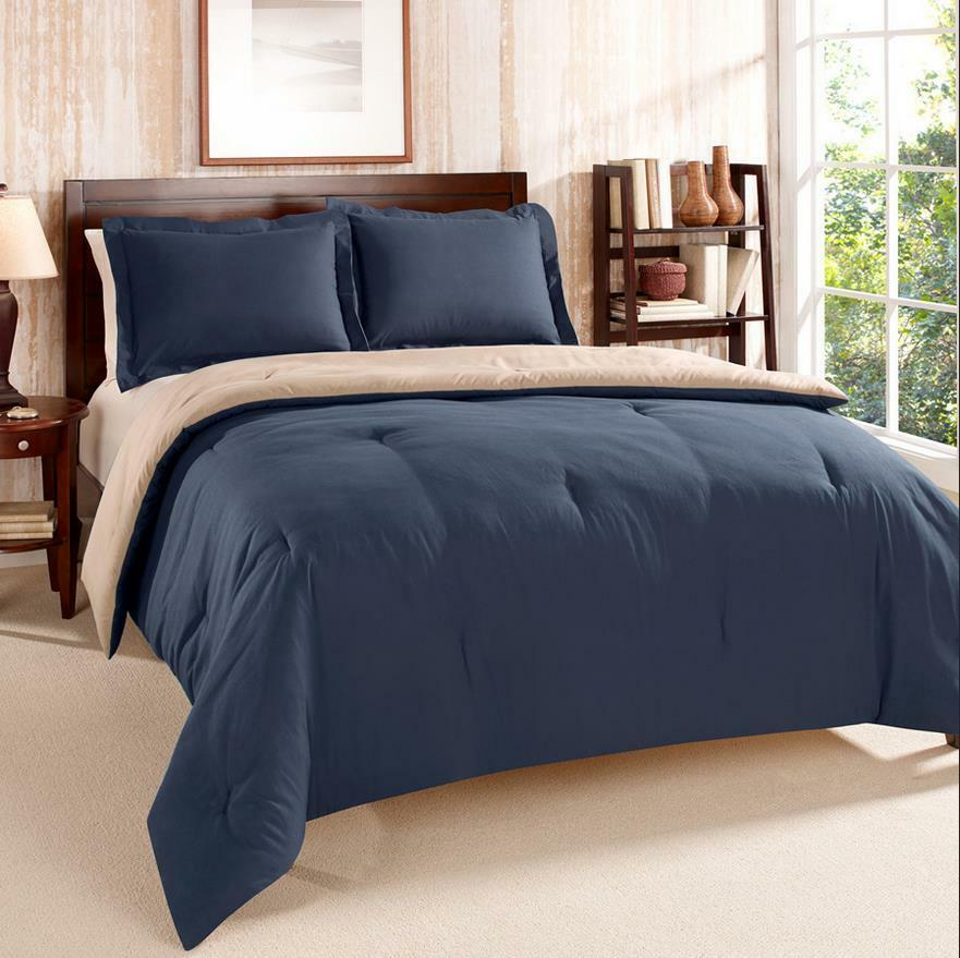 twin twin x long tommy hilfiger navy tan reversible comforter sham set ebay. Black Bedroom Furniture Sets. Home Design Ideas