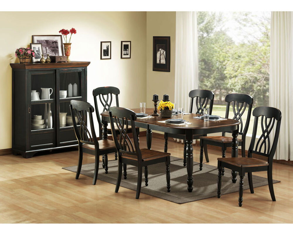 casual country black dining table chairs dining room furniture set ebay. Black Bedroom Furniture Sets. Home Design Ideas