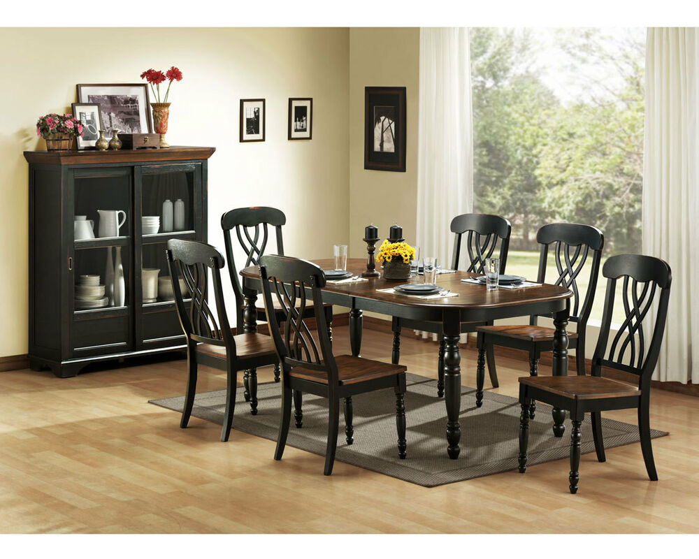 Casual country black dining table chairs dining room for Black dining room furniture
