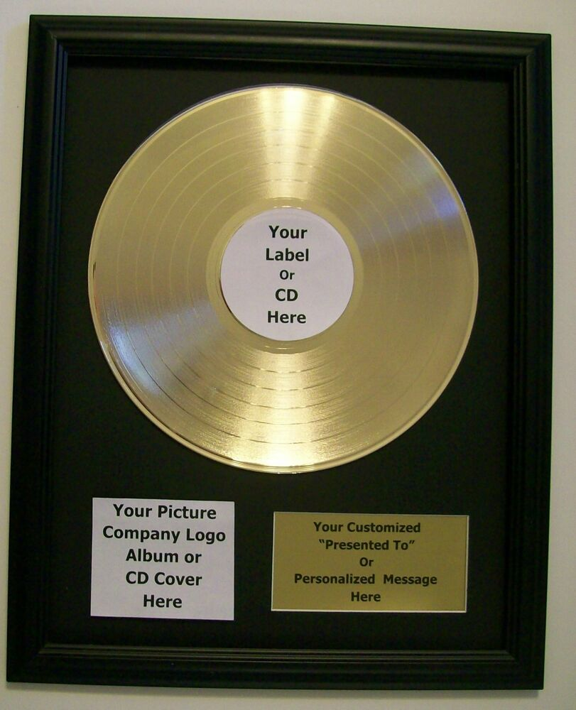 pesonalized gold lp album record award custom plaque cd display riaa style disc ebay. Black Bedroom Furniture Sets. Home Design Ideas