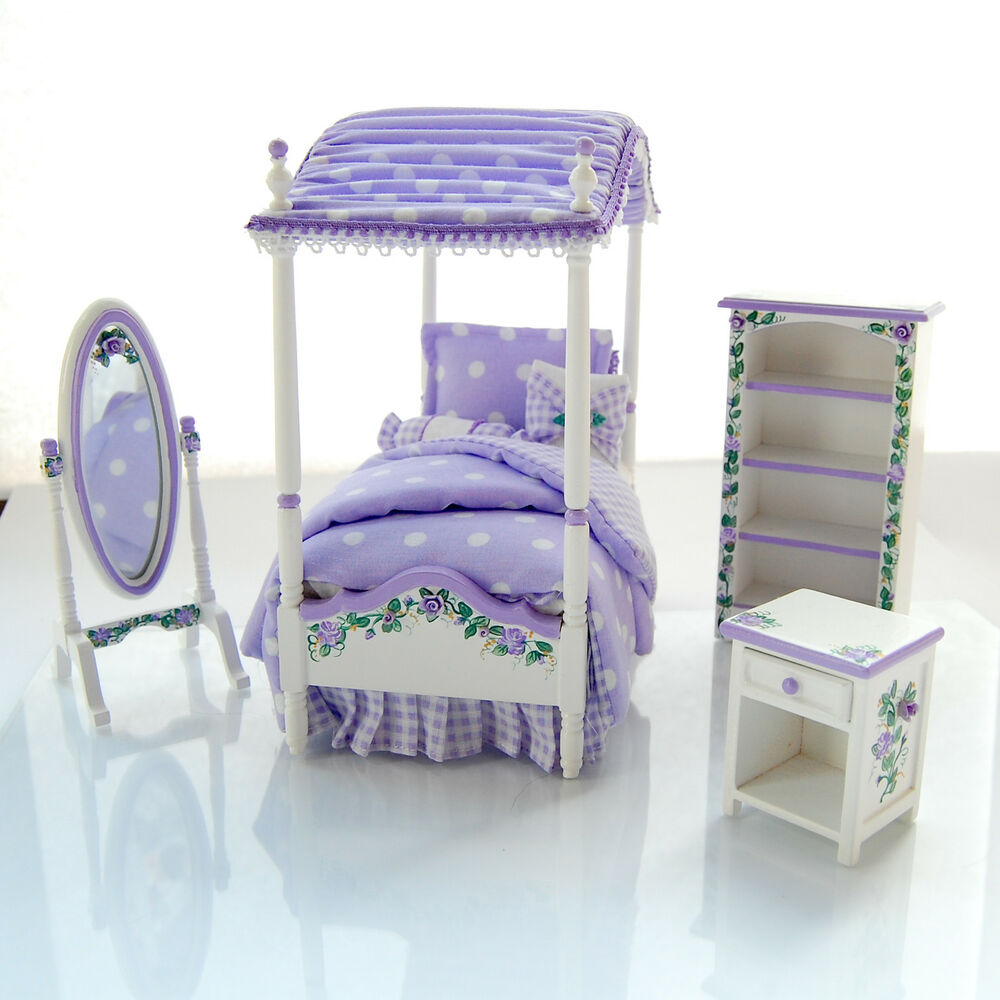 dollhouse miniature lavender purple girl 39 s canopy twin bed set custom painted ebay. Black Bedroom Furniture Sets. Home Design Ideas