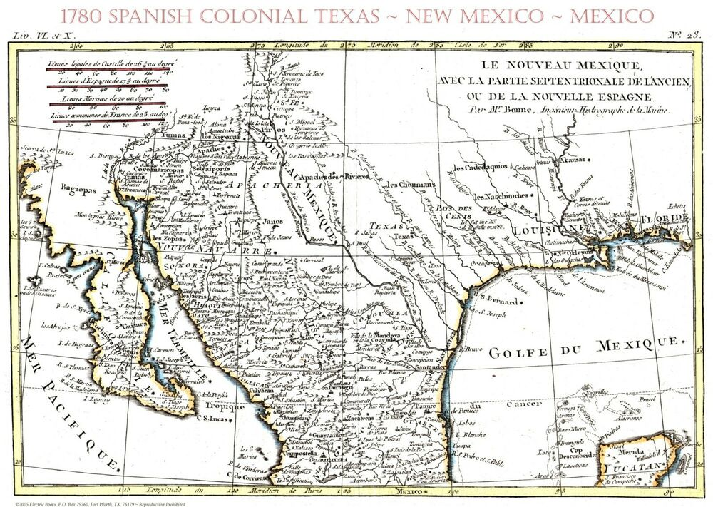 1780 Early Texas SpanishMexican MapBonnePrint 16amp034 x 20amp – Mexicanmap