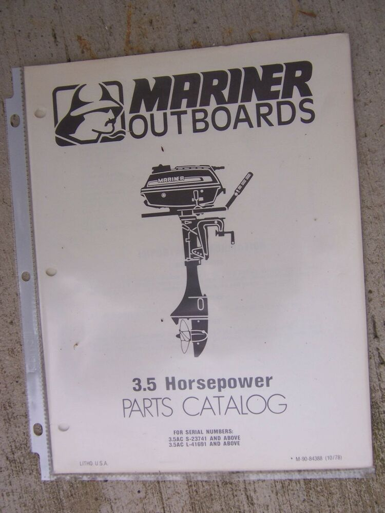 1978 mariner 3 5 hp outboard motor parts manual catalog for Outboard motor parts online