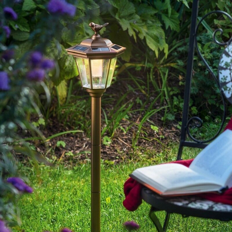 led solar standleuchte solarlampe garten laterne solarleuchte gartenleuchte akku ebay. Black Bedroom Furniture Sets. Home Design Ideas