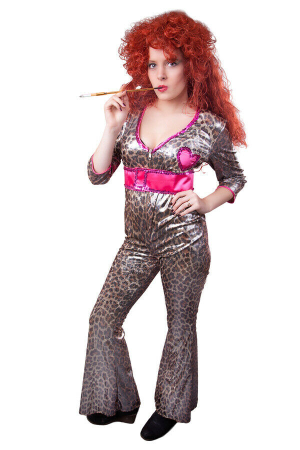 tiger overall 80er 90er jahre disco party look sexy jumpsuit damenkost m outfit ebay. Black Bedroom Furniture Sets. Home Design Ideas