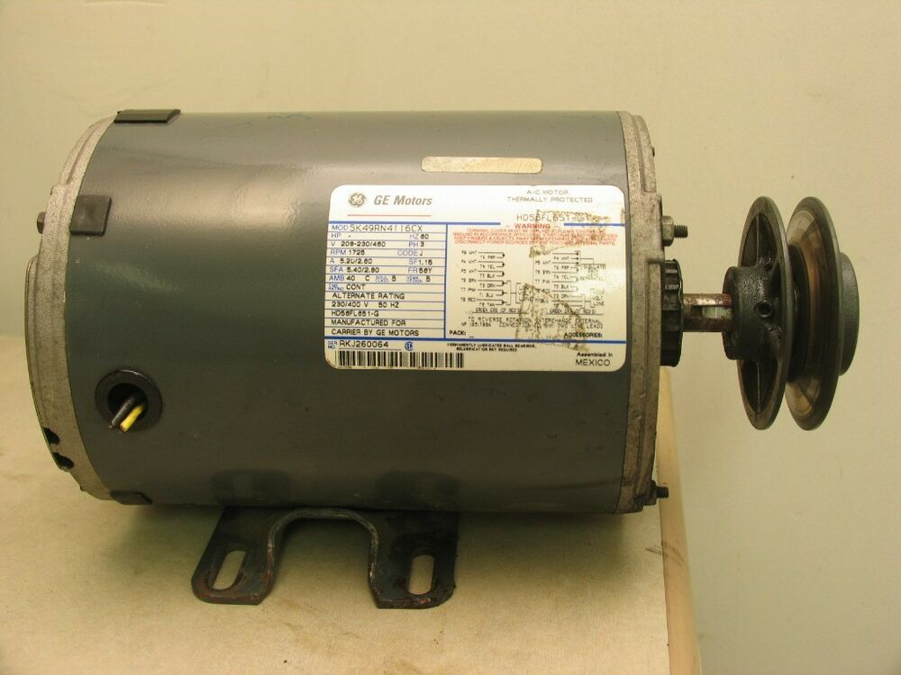 Ge motors 5k49n4116cx blower motor 1 1 2 hp 1725rpm 3ph for 2 hp blower motor
