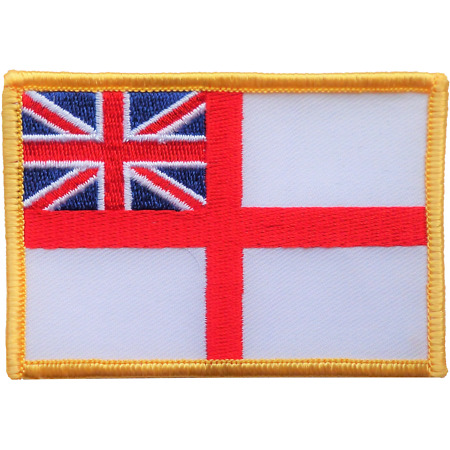 img-Royal Navy White Ensign Flag Embroidered Crest Badge Patch - MOD Approved