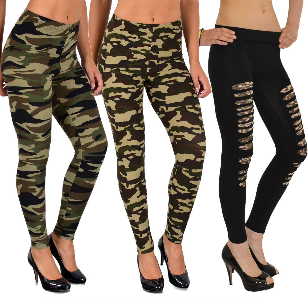 damen leggings leggins legging hose army look leging camouflage military l12 ebay. Black Bedroom Furniture Sets. Home Design Ideas
