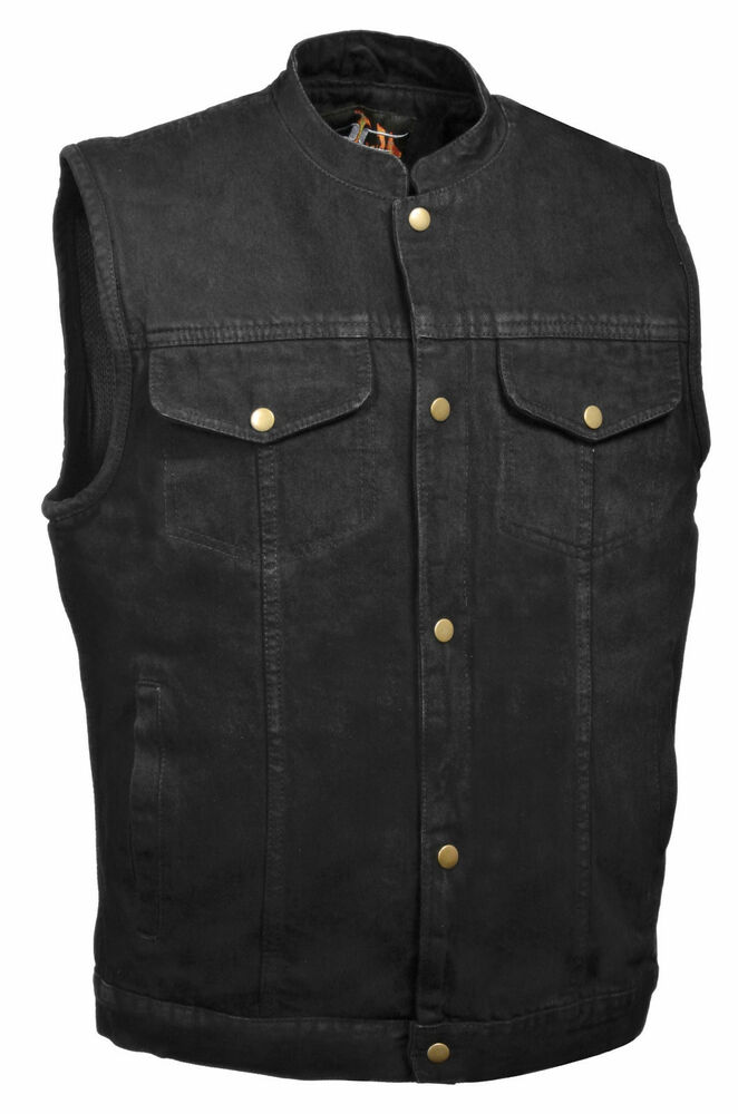 Mens Hidden Zipper/Snap Black Denim Vest w Gun Pockets, Side Lace $ Mens Black Leather 4 Snap Biker Vest w Gun Holster Pocket.