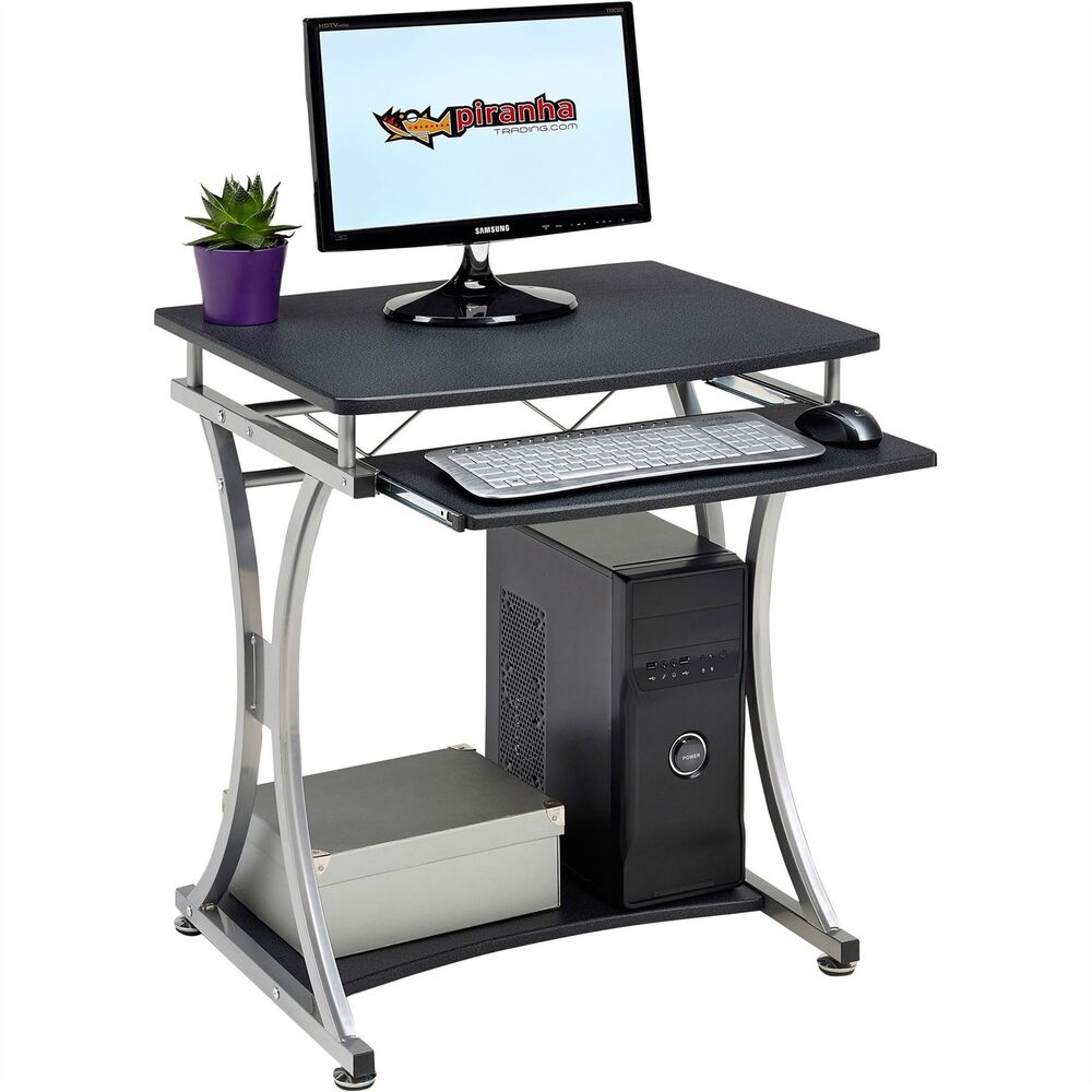 Compact Computer Desk with Keyboard Shelf for Home Office Piranha