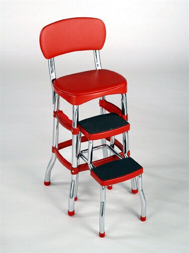 New Cosco Red Retro Counter Chair Step Stool Folding Bar
