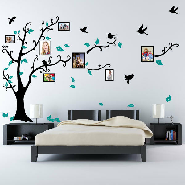 Wall Art Stickers Heaven : Family tree bird photo frame nursery wall quotes