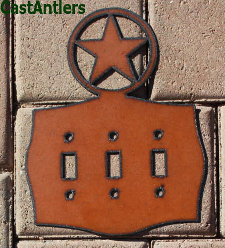 4 pack texas star metal triple light switch plate cover western rustic cabin ebay. Black Bedroom Furniture Sets. Home Design Ideas