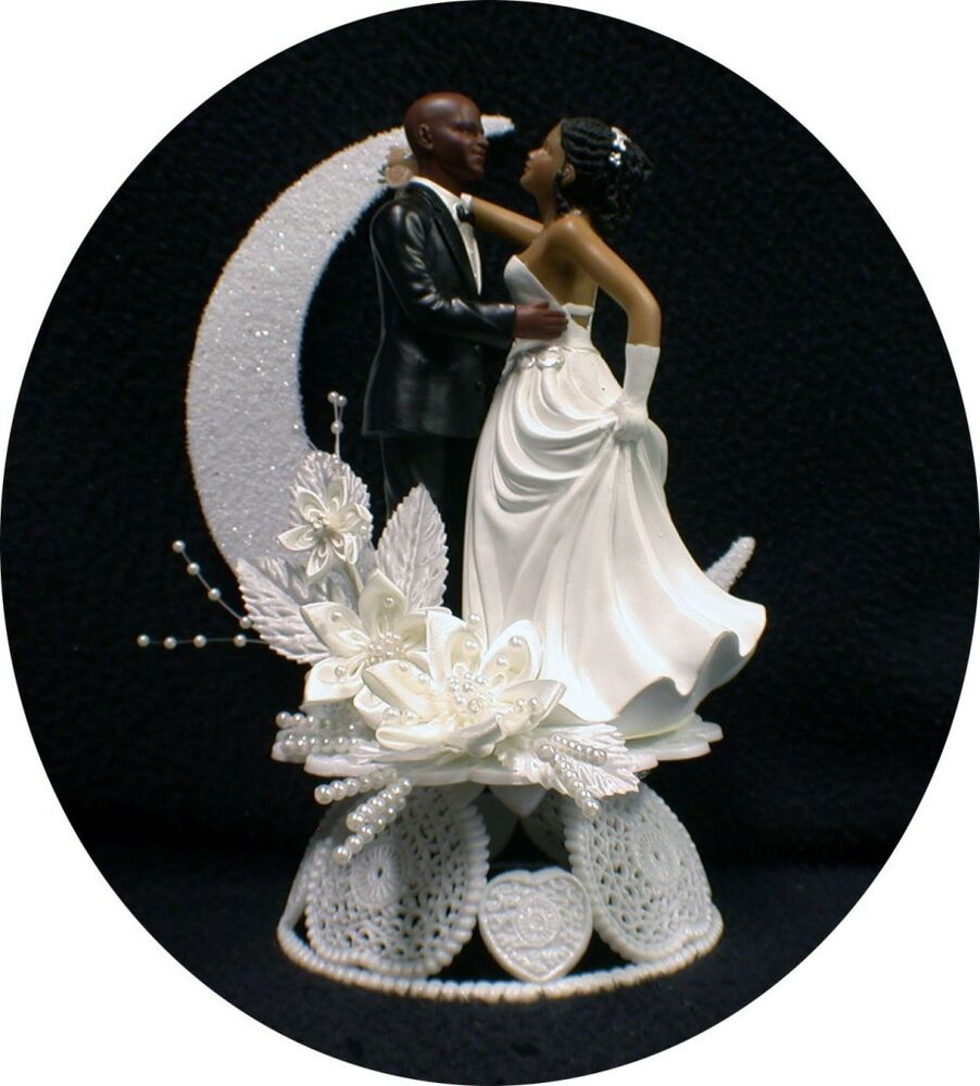 Bride Wedding Cake Topper: Bald Hispanic / Black African-American Groom And Bride
