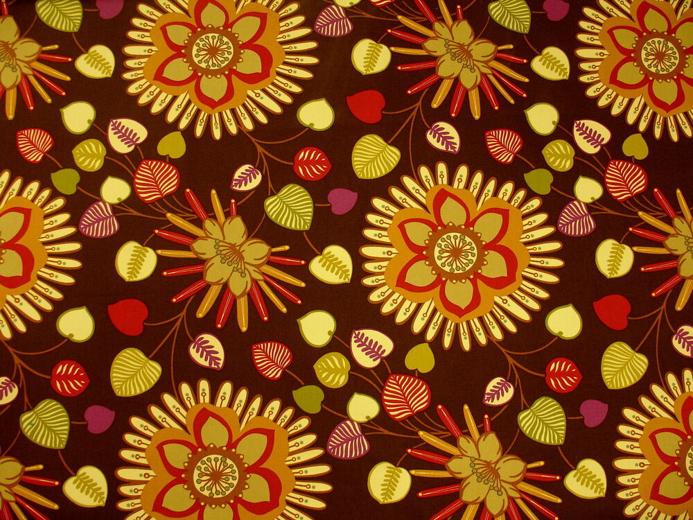 Mpress large vibrant colorful contemporary floral cotton for Floral upholstery fabric