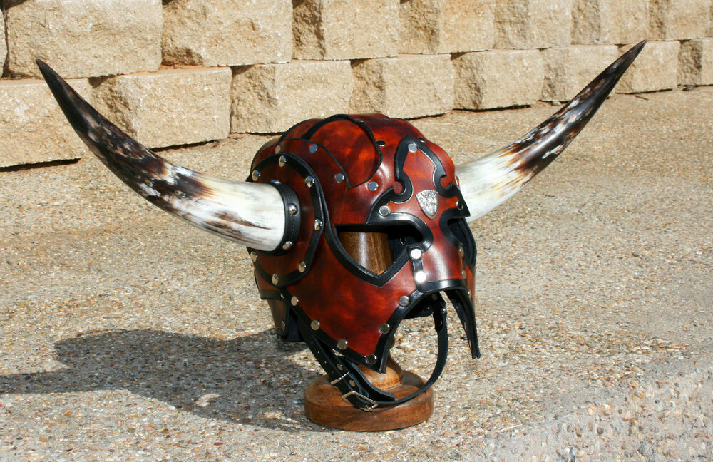 Horned Leather Viking Spectacle Helmet Fantasy Mask Armor ...