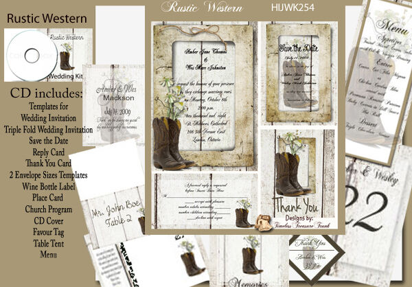 Boots Wedding Invitations: Rustic Cowboy Boots Wedding Invitation Kit On CD