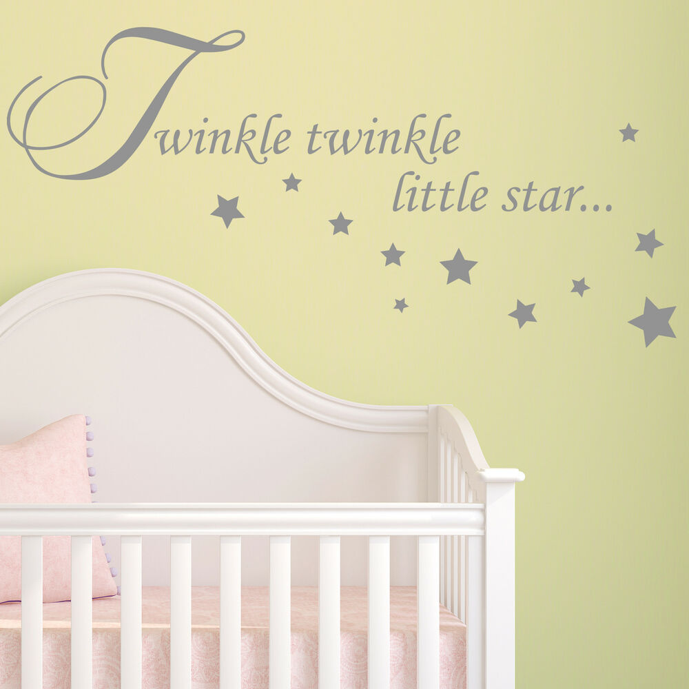 baby wall sticker quote twinkle twinkle stars child nursery animal wall stickers by mirrorin