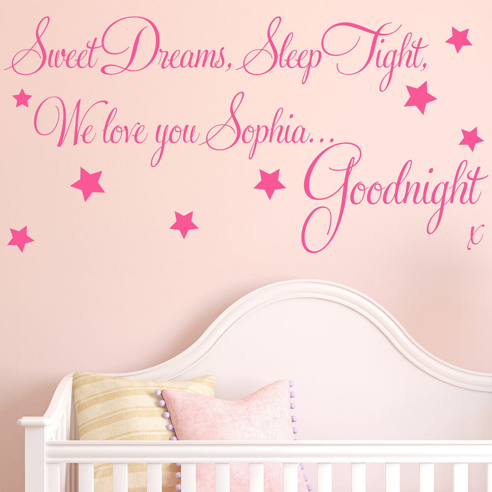 Baby wall sticker quote personalised sweet dreams girl for Girls wall art