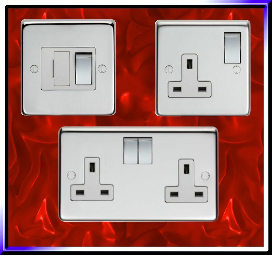 Brushed Or Polished  Socket Outlet  Switched Fused Spur  Fcu  Metal Switches