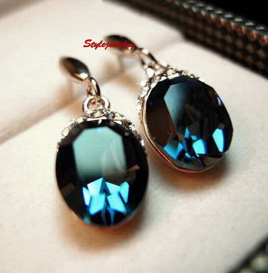 Silver Blue Sapphire Oval Drop Dangle Earring Made With ...