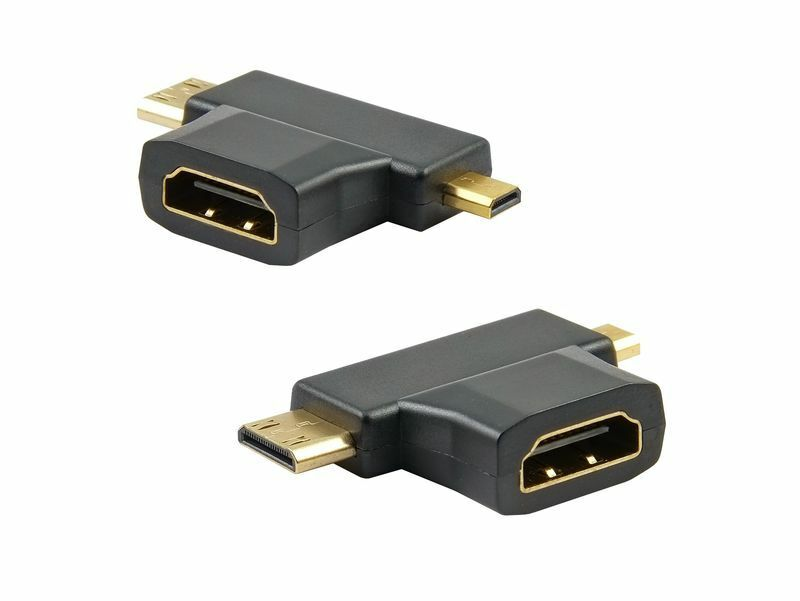 mini micro hdmi adapter hdmi buchse auf mini micro hdmi stecker 2 in 1 fullhd ebay. Black Bedroom Furniture Sets. Home Design Ideas