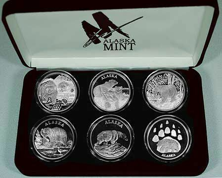 Alaska Mint 6 Bear Set Silver Medallion Proof 6 Oz Ebay