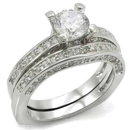 1 5 CARAT ROUND CZ WEDDING ENGAGEMENT RING SET SIZE 5 6 7 8 9 10