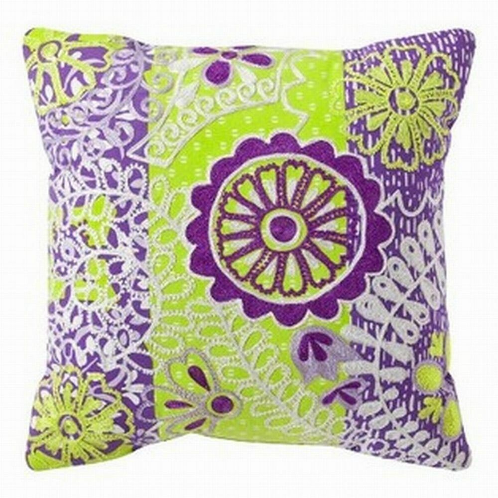 Xhilaration Purple & Yellow Embroidered Boho Throw Pillow Accent Toss Cushion eBay