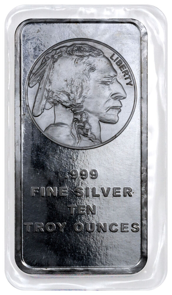 10 Troy Oz 999 Fine Silver Bar American Indian Buffalo