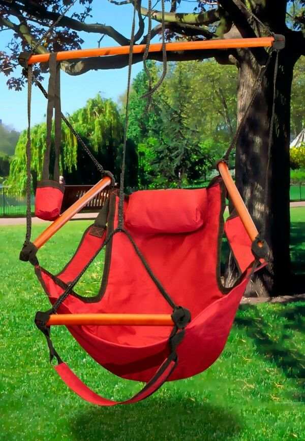 New mtn red 250lbs hammock hanging air sky swing outdoor chair solid wood ebay - Choosing a hammock chair for your backyard ...