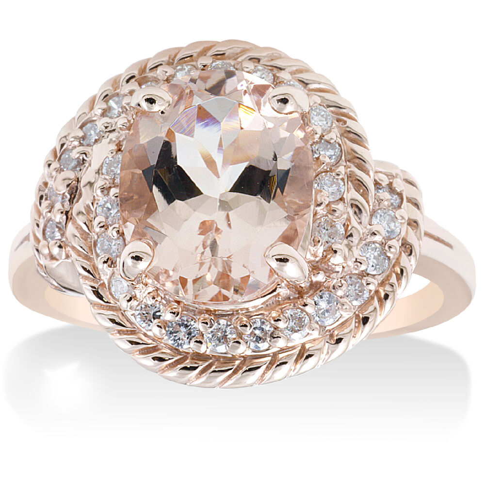 1 3 4ct Morganite Diamond Vintage Halo Engagement