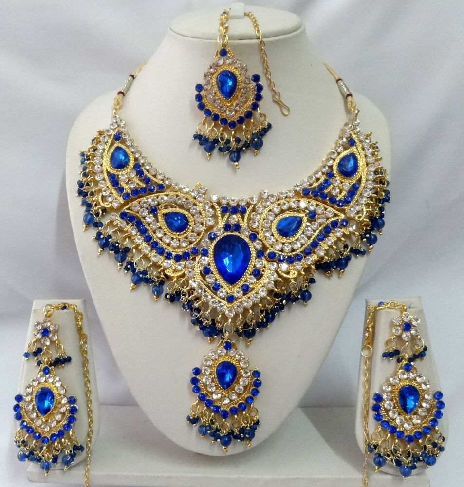 1000 Ideas About Indian Bridal Jewelry Sets On Pinterest: Indian Bollywood Jewelry Diamante Kundan Necklace Set