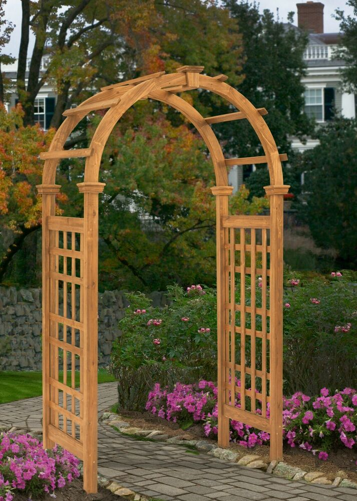 New england arbors decorative rosewood cedar wood garden for Timber garden arch designs
