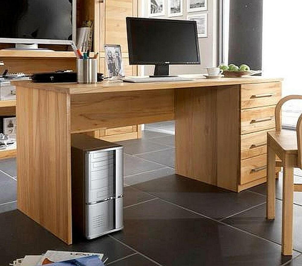 schreibtisch computertisch massiv holz kernbuche ge lt b ro m bel pc tisch ebay. Black Bedroom Furniture Sets. Home Design Ideas