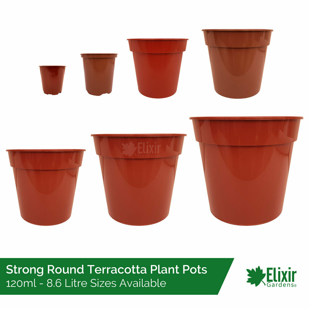 Plant Pots Strong Glossy Terracotta Plastic 2 Quot 3 5 Quot 5